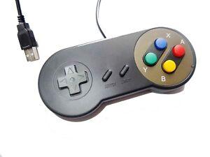 PC-USB-SNES-Classic-Dogbone-Style-Black-Retro-Control-Joy-Pad-Controller-UK