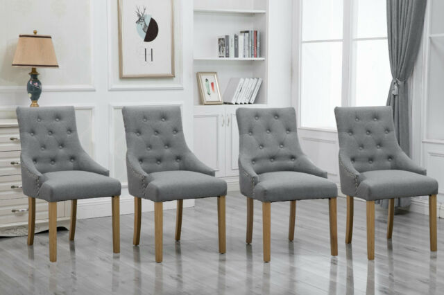 Tremendous Set Of 4 Grey Dining Accent Chair Curved Shape Button Tufted Fabric Upholstered Creativecarmelina Interior Chair Design Creativecarmelinacom