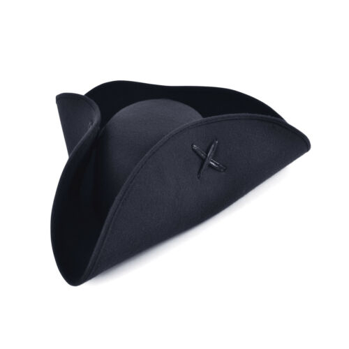 Adulto Nero o Marrone Pirata Tricorno Cappello # Costume Caraibico Accessorio