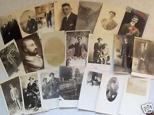 EARLY RPPC POSTCARD LOT OF 21 MEN GUYS MALES GENTLEMEN YOUNG & OLD! REAL PHOTO w