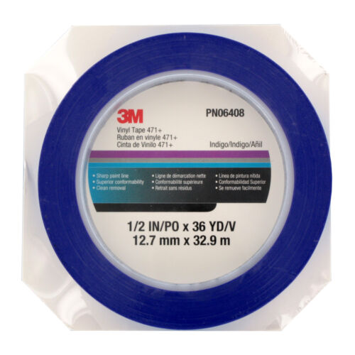 3M Blue Automotive Indigo Blue Vinyl Paint Tape 471+ PN6408 1//2 in x 36 yd