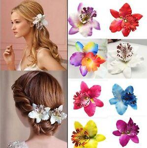 Orchidee-Haarclip-Bluete-Haarspange-Haarschmuck-Blume-Hibiskus-Hawaii-Ansteckblum