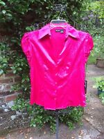 Willi Smith- Nwt- Bright Pink Crinkle Shirt Top Blouse- Size Small