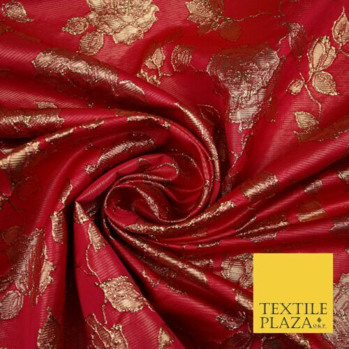 Luxury Textured Gold Floral Rose Brocade Dress Fabric Metallic Fancy 5 COLOURS