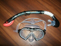 TWF Sola Adult Mask & Snorkel Set Black Scuba Holidays Diving Snorkelling
