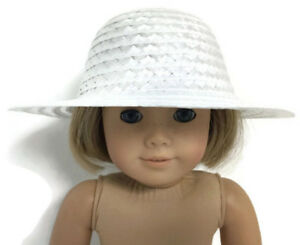 6a0455703a8fc White Straw Hat Accessories fits 18 inch American Girl Doll Clothes ...