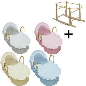 Broderie-Anglaise-Moses-Basket-With-Mattress-Covers-And-Rocking-Stand-NEW