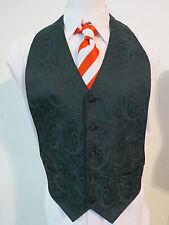 Sz M Green/Black Paisley Formal Tux #53D MENS Wedding Suit Vest Waistcoat