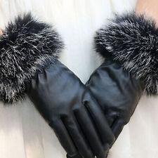 Hot Sell Women Black Faux Leather Gloves Autumn Winter Warm Rabbit Fur Mittens