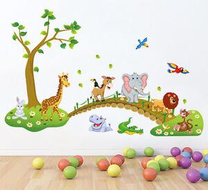 Capable Sticker Mural Chambre Enfant Girafe Eléphant Lion Singe Crocodile Hippopotame-afficher Le Titre D'origine Emballage Fort