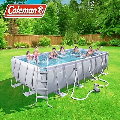 Coleman 18ft Power Steel Rectangular Above Ground Swimming Pool Set 18x9x4\'  NEW 821808903351 | eBay