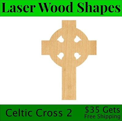 Unfinished Celtic Cross Laser Cut Out Wood Shape Craft Supply
