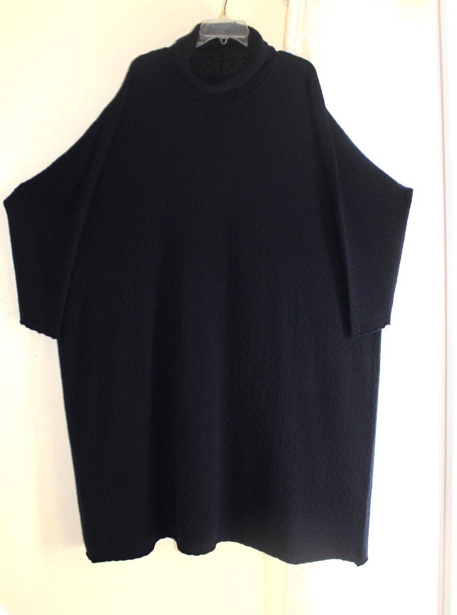 NEW Eskandar Navy bluee  100% Cashmere Textured 47 Long Sweater Knit Dress O S