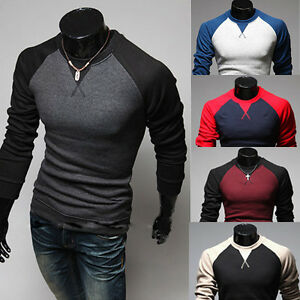 New Men's Fashion Casual Slim Fit Crew-neck Long Sleeve Tops Tee T ...