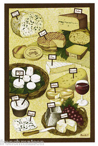 BEAUVILLE-French-Dish-Towel-Wine-FROMAGE-CHEESE-Brie-Camembert-etc-FREE-GIFT