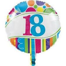 """""""HAPPY 18TH BIRTHDAY"""" 18"""" ROUND FOIL BALLOON BRIGHT & BOLD PARTY DECORATION"""