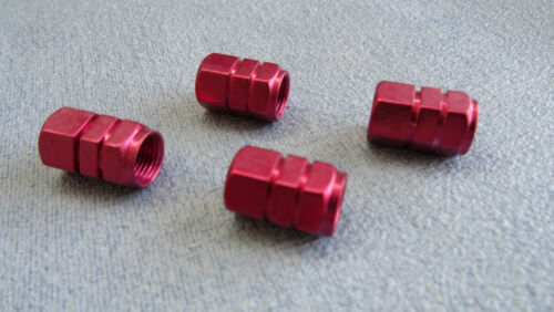 MG 3 6 ZR RED FULL METAL DUST VALVE CAPS TYRE WHEEL SOLID HEXAGON COVER