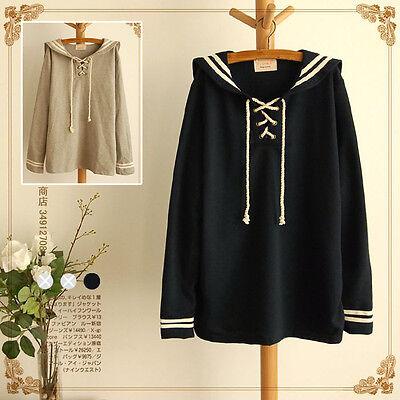 Japan Harajuku sailor collar lolita Navy blue /Gray sweater girls