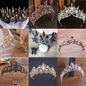 Antique-Baroque-Tiara-Black-White-Crystal-Pearl-Pageant-Crown-Wedding-Xmas-Gifts