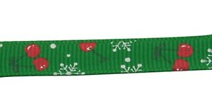 Cherry & Snowflake Grosgrain Christmas Ribbon , Green , app. 10mm x 5yrds