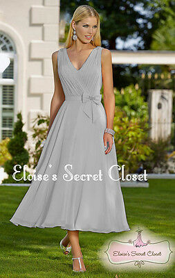 JOLIE Silver Grey Chiffon Tea Length Prom Bridesmaid Occasion Dress UK 6 - 18