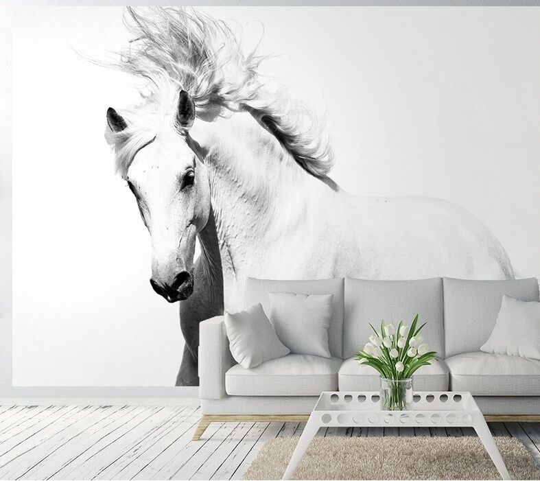 Photo Wallpaper - WHITE HORSE - Wall Mural - MUSTANG 254cm x 183cm decoration