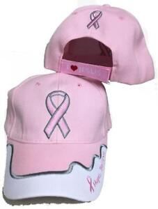 97717be059ca5 NEW I LOVE JESUS PINK RIBBON BREAST CANCER AWARENESS BASEBALL STYLE ...