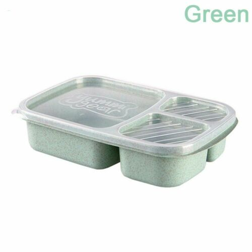 Microwavable Bento 3 Compartment Lunch Container Meal Storage Food Prep Box