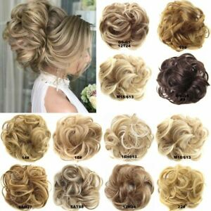 Real-100-Human-Hair-Extension-Wrap-Messy-Hair-Bun-Curly-Heat-Ponytail-Hairpiece