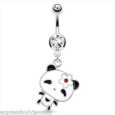 Navel Belly Button Ring 14g Mouse Dangle CZ GEM   Red Blue Black White