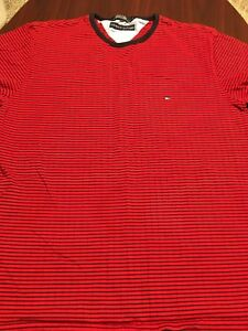 Tommy-Hilfiger-Red-Tiny-Flag-Striped-Short-Sleeve-Mens-T-Shirt-Large-L