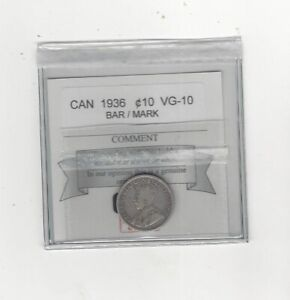 1936-Bar-Coin-Mart-Graded-Canadian-10-Cent-VG-10-Mark