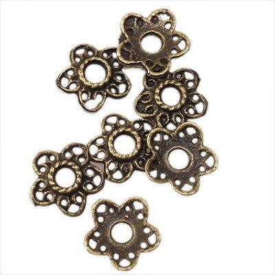 100x Antique Bronze Flower Spacer Beads Fit DIY 160420
