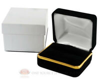 Black Velvet Classic Double Ring Metal Jewelry Gift Box 2 3/8w X 2d X 1 1/2h