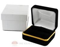 Black Velvet Classic Double Ring Metal Jewelry Gift Box 2 3/8w X 2d X 1 1/2h