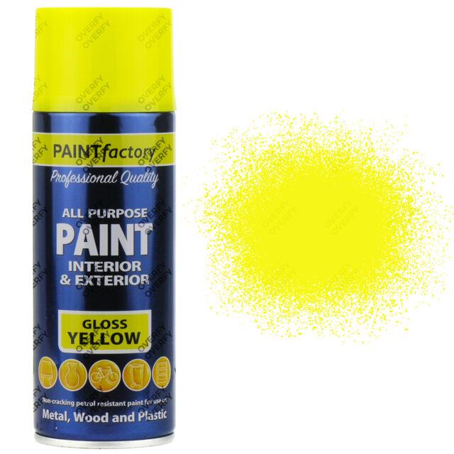 4 X 400ML Multiusos Amarillo Brillo Pintura en Aerosol Casa de Coche de Plástico