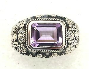 Amethyste-Anneau-taille-54-argent-sterling-argent-925-style-antique