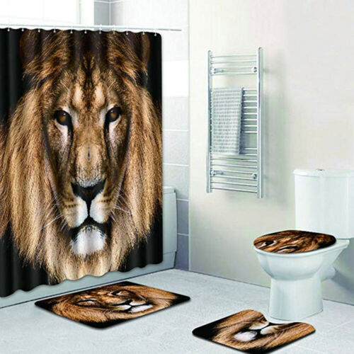 4 Piece Bathroom Set,Animal Lion Waterproof Shower Curtain Non-Slip Contour Rug