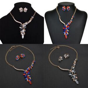 Women-Multicolor-Gem-Crystal-Pendant-Choker-Chain-Necklace-Earrings-Sets-Jewelry