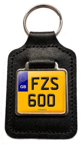FZS 600 Reg GB Number Plate Leather Keyring for Yamaha FZS600 Fazer NOS