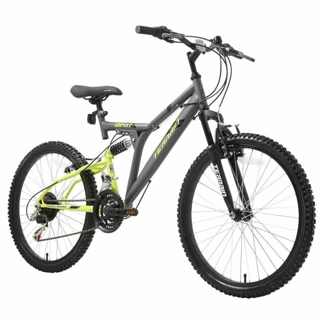 "Terrain 1024XT 24"" Unisex Mountain Bike Grey 18"" Steel Frame Dual Suspension"