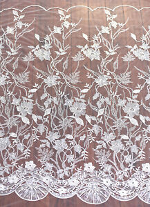 Blossom Beaded Bridal Lace Fabric Off White Embroidery Wedding Dress Trim 0.5 M