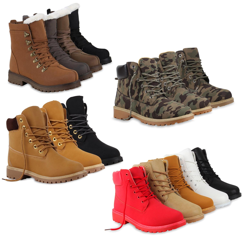 Warm Gefütterte Damen Schnürstiefele<wbr/>tten Profilsohle Stiefeletten 78508 Schuhe