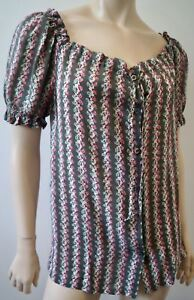 Short Silk amp; 1 Paul Floral Blouse Khaki Top 100 Stripe Sz Cream Pink Joe Sleeve z4qwpf4