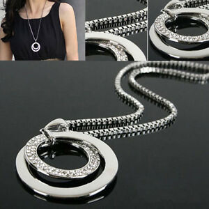 Damen-Halskette-Kristall-Strass-Kreis-Anhaenger-Lange-Kette-Silber-Modeschmuck