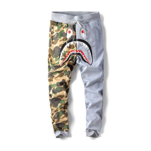 BAPE A Bathing Ape Shark Head Camo Sweatpants Men Casual Jogging Long Pants New