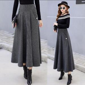 Addensare Swing Woolen V82 Pleated Skirt High Waist Retro Dress Long Womens Winter HYxXwY