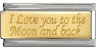 Italian Bracelet Gold I Love You To The Moon and Back
