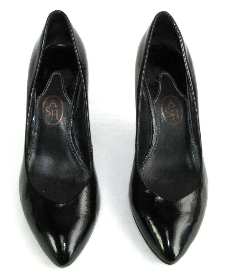 ASH - Escarpins talons 8 cm cm cm tout cuir verni souple negro 38 - TRES BON ETAT b0523b