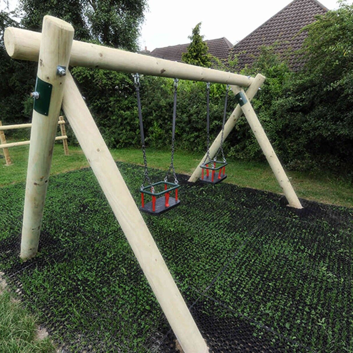 2 x Rubber Playground Swings Safety Mats Inc Fixing Pegs Pegs Pegs   16mm Grass Matting eaa374